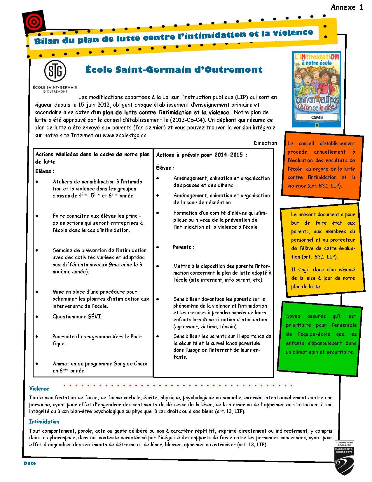 Annexe 1 Diffusion bilan plan de lutte 2014-2015